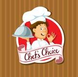 Etichetta choice del cuoco unico con progettazione piana del vassoio d'argento - vettore Immagine Stock Libera da Diritti