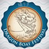 Etichetta commemorativa per il festival di Duanwu con Dragon Boat disegnato a mano, illustrazione di vettore Fotografia Stock
