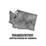 Etichetta con la mappa di Washington Immagine Stock Libera da Diritti