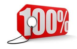 Etichetta con 100% (percorso di ritaglio incluso) Fotografie Stock