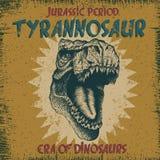 Etichetta d'annata con il dinosauro Fotografia Stock