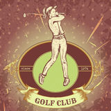 Etichetta d'annata con la donna che gioca golf Retro club di golf disegnato a mano del manifesto dell'illustrazione di vettore Fotografia Stock Libera da Diritti