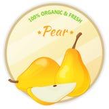 Etichetta d'annata con la pera isolata su fondo bianco nello stile del fumetto Illustrazione di vettore Frutta e verdure Immagine Stock
