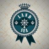 Etichetta d'annata con un tema nautico Fotografia Stock