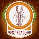 Etichetta d'annata dei migliori frutti di mare con l'aragosta sulla struttura del fondo di lerciume Retro illustrazione disegnata Fotografia Stock Libera da Diritti