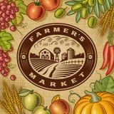 Etichetta d'annata del mercato degli agricoltori Fotografia Stock