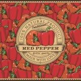Etichetta d'annata del peperone sul modello senza cuciture Fotografie Stock Libere da Diritti