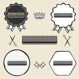 Etichetta d'annata dell'emblema di simbolo della spazzola per capelli del pettine Fotografie Stock Libere da Diritti