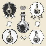 Etichetta d'annata dell'emblema di simbolo di vetro di tubo del laboratorio Immagini Stock Libere da Diritti