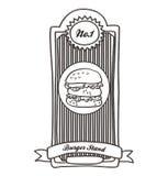 Etichetta d'annata dell'hamburger Fotografie Stock