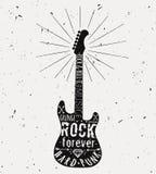 Etichetta d'annata della chitarra di vettore con lo sprazzo di sole, diamante, ossa, freccia Illustrazione di Stock
