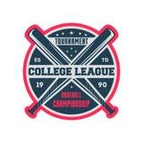 Etichetta d'annata della lega dell'istituto universitario di baseball Immagini Stock