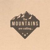 Etichetta d'annata della montagna Fotografia Stock Libera da Diritti