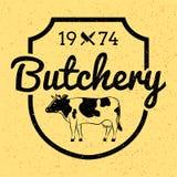 Etichetta d'annata/distintivo di macelleria con la mucca/il manzo Fotografia Stock