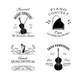 Etichetta d'annata e distintivo di musica retro Chitarra, piano Jazz Festival Contrabbasso Fotografie Stock Libere da Diritti