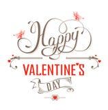 Etichetta d'annata felice di giorno di biglietti di S. Valentino Illustrazione Vettoriale