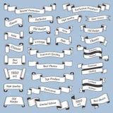 Etichetta d'annata incisa piano Vecchie etichette dell'etichetta o insegne vittoriane del nastro Retro insegna del nastro con il  illustrazione di stock