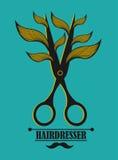 Etichetta d'annata per il parrucchiere ed il barbiere con Fotografie Stock Libere da Diritti