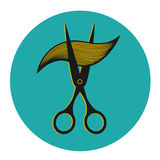 Etichetta d'annata per il parrucchiere ed il barbiere con Fotografia Stock