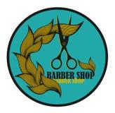 Etichetta d'annata per il parrucchiere ed il barbiere con Immagini Stock