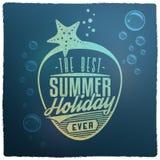 Etichetta d'annata riferita di vacanze estive Fotografia Stock Libera da Diritti