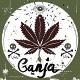 Etichetta d'annata, stile della marijuana Elementi di vettore di tipografia Fotografia Stock Libera da Diritti