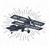 Etichetta d'annata strutturata disegnata a mano con il illustrati di vettore del biplano Immagini Stock Libere da Diritti