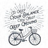 Etichetta d'annata strutturata disegnata a mano con il illustrati di vettore della bicicletta Fotografie Stock Libere da Diritti