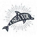 Etichetta d'annata strutturata disegnata a mano con l'illustrazione di vettore del delfino Immagini Stock Libere da Diritti