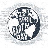 Etichetta d'annata strutturata disegnata a mano con l'illustrazione di vettore del globo Immagini Stock Libere da Diritti