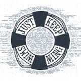 Etichetta d'annata strutturata disegnata a mano con l'illustrazione di vettore del salvagente Fotografie Stock Libere da Diritti