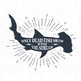Etichetta d'annata strutturata disegnata a mano con l'illustrazione di vettore dello squalo martello Fotografie Stock Libere da Diritti