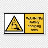 etichetta d'avvertimento del segno di area caricantesi della batteria di simbolo su fondo trasparente illustrazione di stock