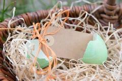 Etichetta davanti alle uova di Pasqua Fotografia Stock Libera da Diritti