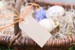 Etichetta davanti alle uova di Pasqua Immagine Stock Libera da Diritti