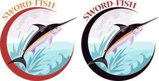 Etichetta dei pesci spada illustrazione vettoriale