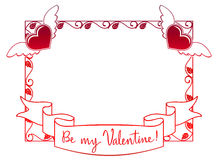 Etichetta del biglietto di S. Valentino con le rose ed i cuori Immagini Stock