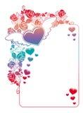 Etichetta del biglietto di S. Valentino con le rose ed i cuori Fotografie Stock Libere da Diritti