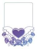 Etichetta del biglietto di S. Valentino con le rose ed i cuori Fotografia Stock