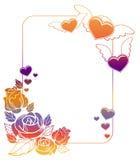 Etichetta del biglietto di S. Valentino con le rose ed i cuori Immagine Stock