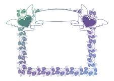 Etichetta del biglietto di S. Valentino con le rose ed i cuori Immagini Stock Libere da Diritti