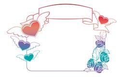 Etichetta del biglietto di S. Valentino con le rose ed i cuori Fotografia Stock Libera da Diritti