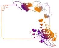Etichetta del biglietto di S. Valentino con le rose ed i cuori Fotografie Stock