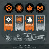 Etichetta del bollo di vettore di simbolo di quattro stagioni Immagine Stock Libera da Diritti