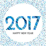 Etichetta del buon anno 2017 con i coriandoli e le linee blu Fotografie Stock