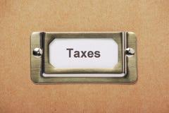 Etichetta del cassetto di stoccaggio di imposte Immagini Stock Libere da Diritti
