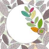 Etichetta del cerchio con le foglie colorate Immagine Stock