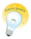 Etichetta del cerchio di potere verde con la lampadina illustrazione di stock