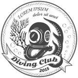 Etichetta del club di immersione subacquea Fotografia Stock