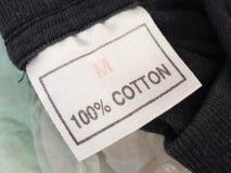 etichetta del cotone del pc 100 Fotografie Stock Libere da Diritti